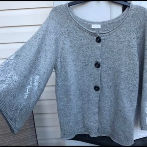 VALENTINO LADIES GRAY WOOL LACE CARDIGAN